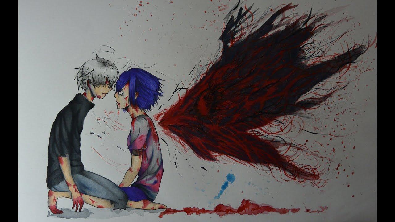 Drawing Kaneki and Touka Tokyo Ghoul  YouTube