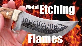 How to easily Metal Etch Flames onto a knife blade with a battery charger