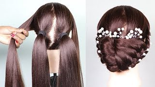 Party Bun Hairstyle With a Trick    bridal hairstyle    messy bun    short hairstyles    prom