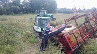 Tractor JOHN DEER stuck in mud - river  2015 with sprayer rau