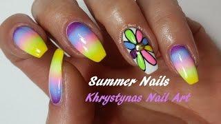 Easy Summer Nail Art!!! Rainbow Flower Nails (Khrystynas Nail Art)