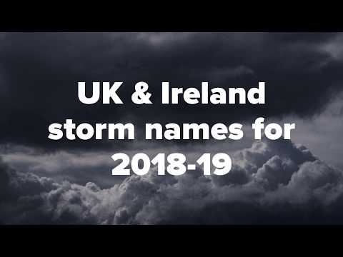 UK and Ireland storm names for autumn/winter 2018-19