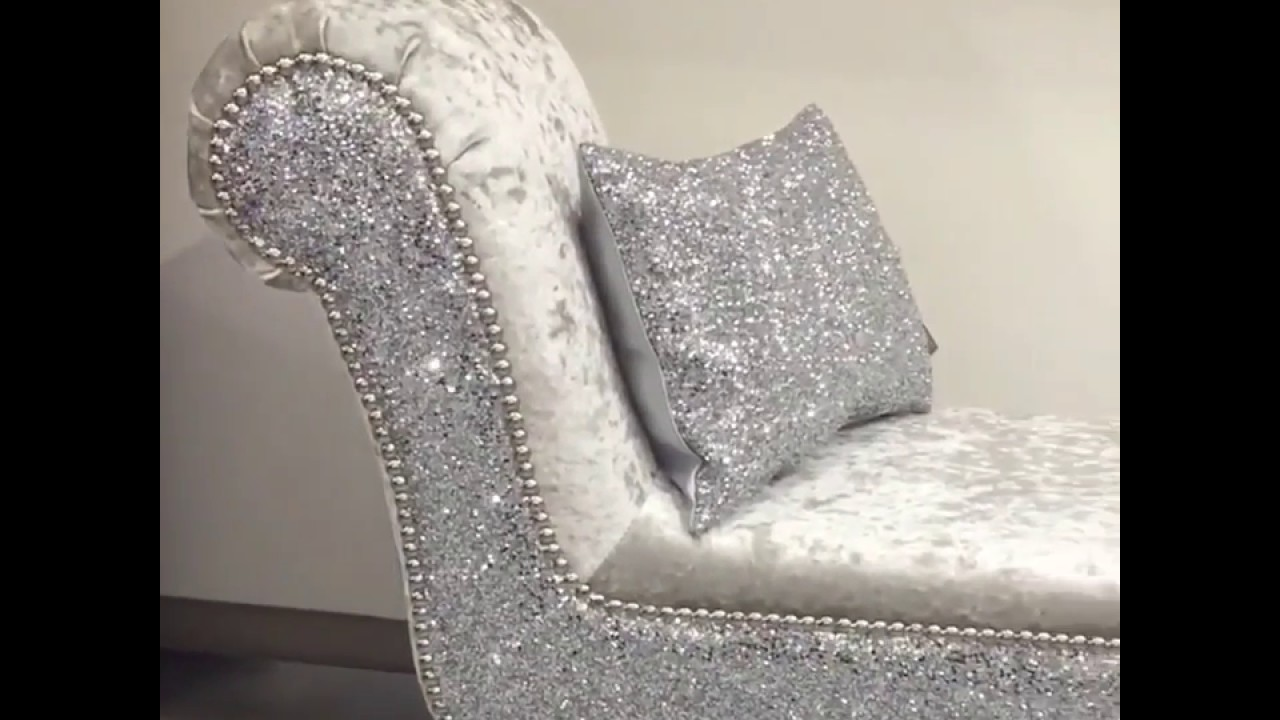 The Glitter Furniture Company Silver Velvet Chaise Youtube