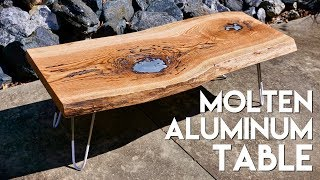 "Molten Aluminum Live Edge ""Lake"" Coffee Table with DIY Hairpin Legs 