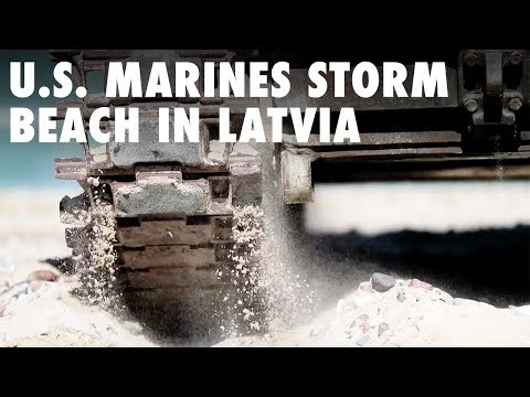 U.S. Marines storm beach in Latvia