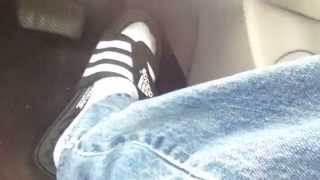 driving in adidas sandals w o socks socks and barefoot