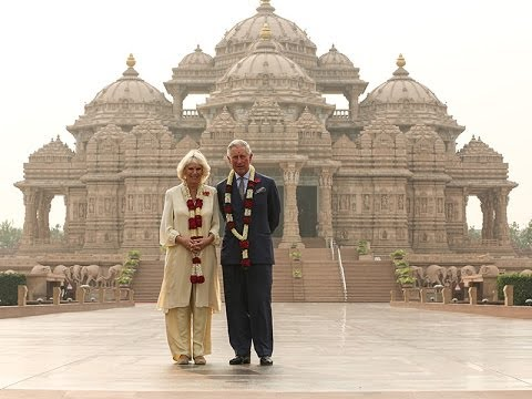 HRH The Prince of Wales and HRH The Duchess of Cornwall Visit Swaminarayan Akshardham, Delhi, India