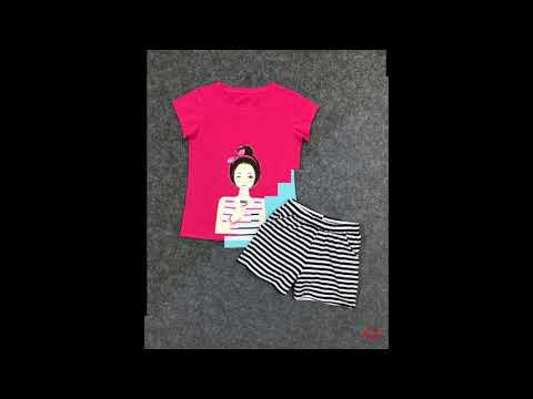 Đồ bộ short in hình cô gái | chuyên bán buôn quần áo trẻ em xưởng may HTKIDS