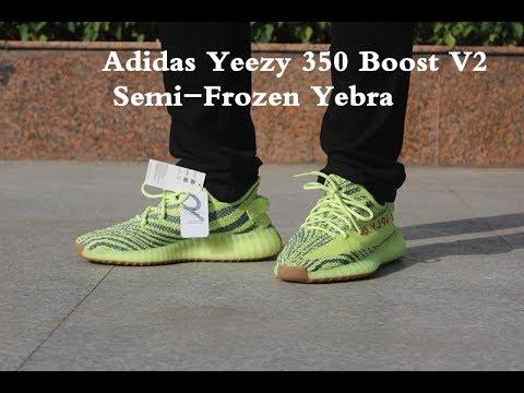 0b1560aac Adidas Yeezy 350 Boost V2 Semi-Frozen Zebra on feet - YouTube