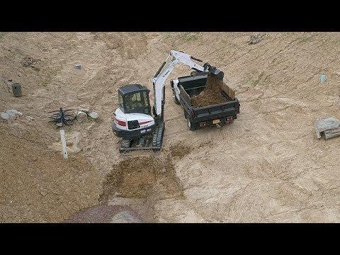 Excavating Dirt from Pond-Bobcat E42 Excavator & Chevy 3500 Dump Truck