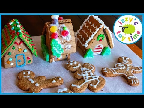 GINGERBREAD HOUSES AND NINJAS! Learning and DIY Crafts with Izzy's Toy Time! FAMILY FUN