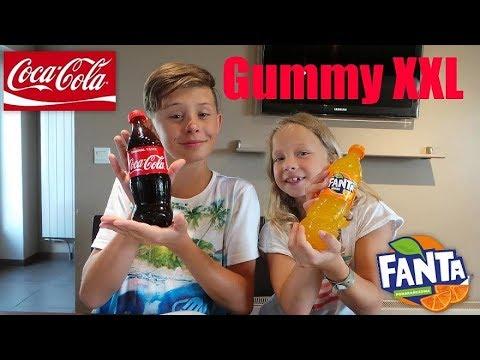 Bouteilles de Coca-cola et de Fanta en gummy XXL !
