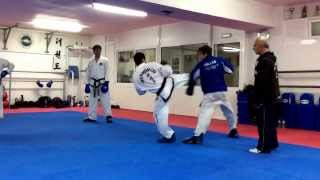 Master  Vasilis Alexandris teaching ITF Taekwon-do advanced sparring class.