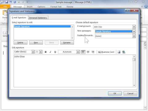 how to set default signature in outlook 2010