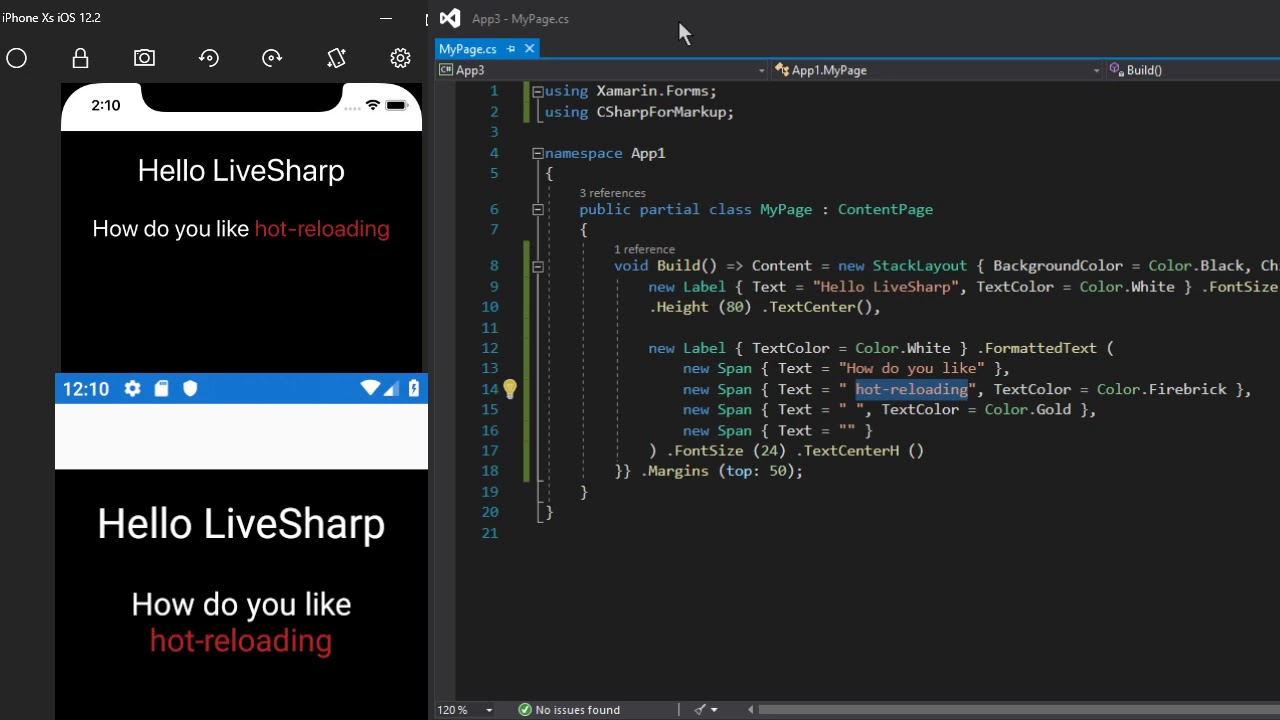 VincentH on  NET » Hot Reloading Declarative C# UI for Xamarin Forms