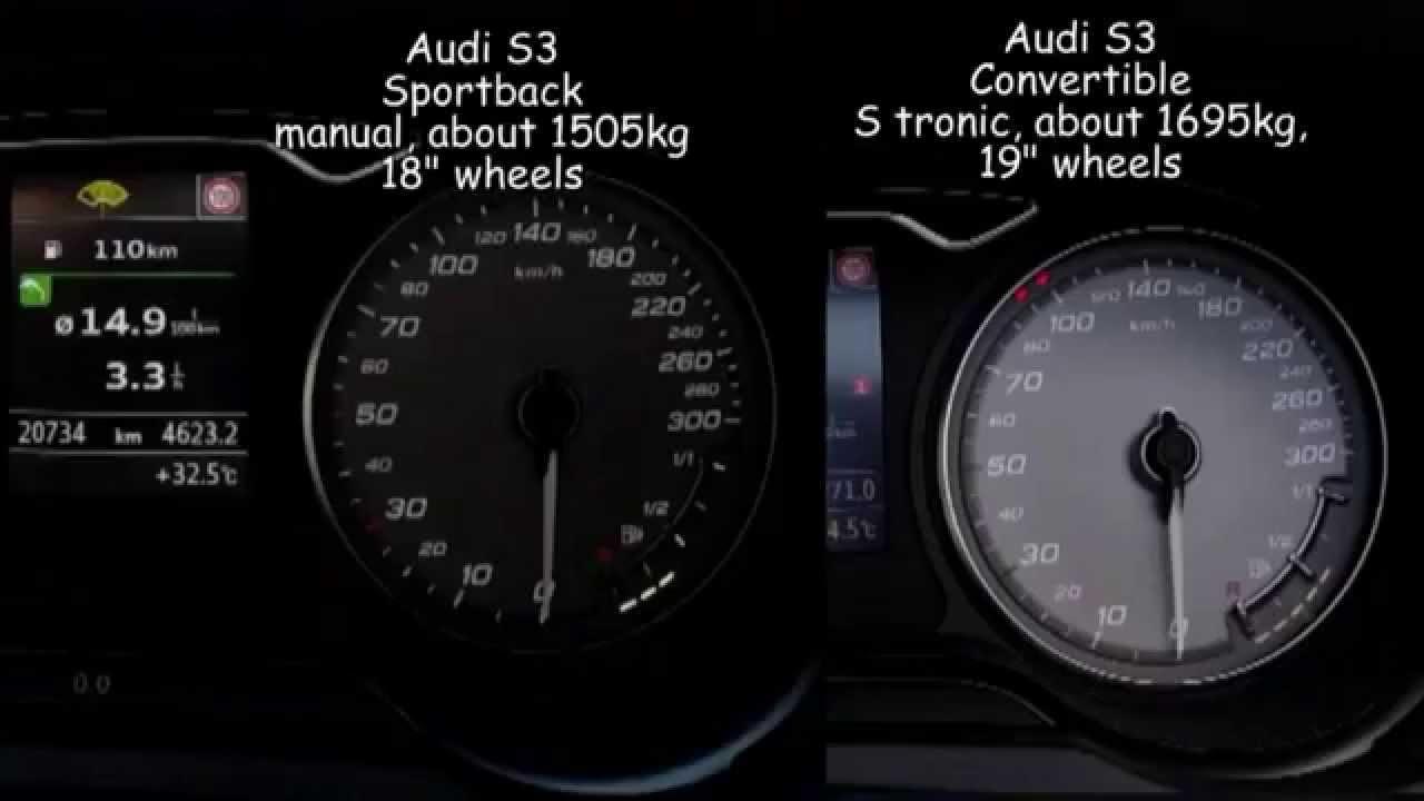 0 200 km h comparison audi s3 convertible s tronic vs s3 sportback rh youtube com s tronic vs manual s3 s tronic or manual