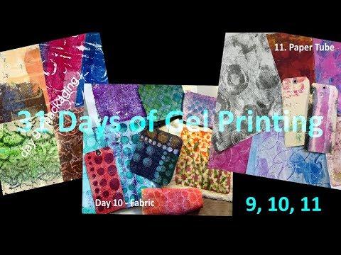 Gel Printing 31 Days - Days 9, 10 11 - Packaging, Fabric, Paper Tubes