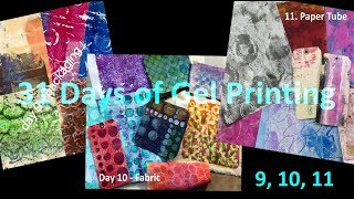 Gel Printing 31 Days - Days 9, 10 11 - Packaging, Fabric, Paper Tubes