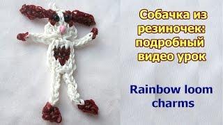 Rainbow loom charms tutorial: dog. Собачка из резиночек: подробный видео урок