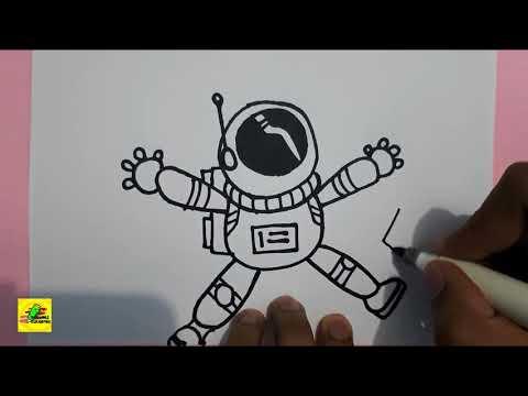 How To Draw An Astronaut Cara Menggambar Seorang Astronot Youtube