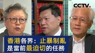 香港各界:止暴制乱是当前最迫切的任务 | CCTV