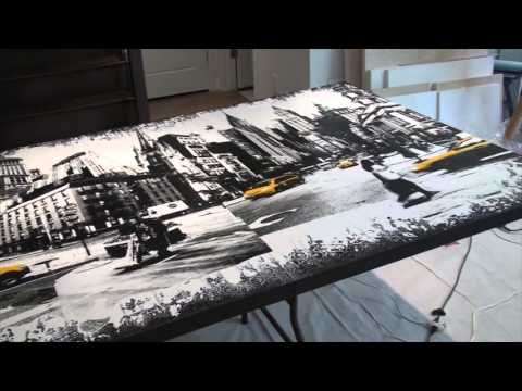 See the Artist Abroad at work creating an epic urban mixed media painting