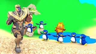Thanos dances with penguins on the beach