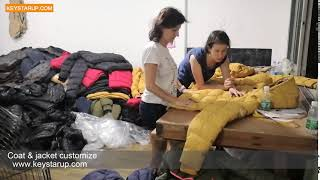 Winter coats production inspection in garment factory