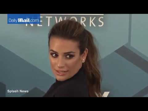 Lea Michele, shows, off, sexy, legs, in, a mini, dress, at, FOX Upfronts