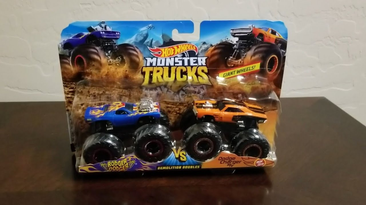 Hot Wheels Monster Trucks Rodger Dodger And Dodge Charger Rt Review Youtube