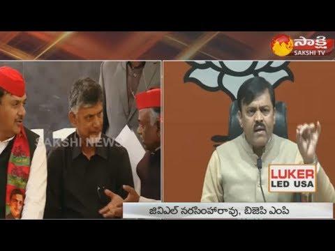 BJP MP GVL Narasimha Rao Press Meet in Delhi   Slams Chandrababu