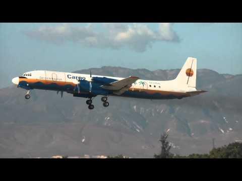 Ilyushin IL-18 (FullHD) aero caribbean cargo take off