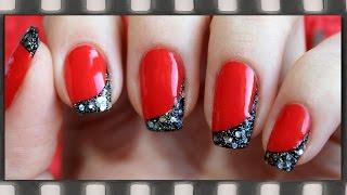 Угловой френч Маникюр в черно-красных тонах | Nail Tutorial: French Manicure