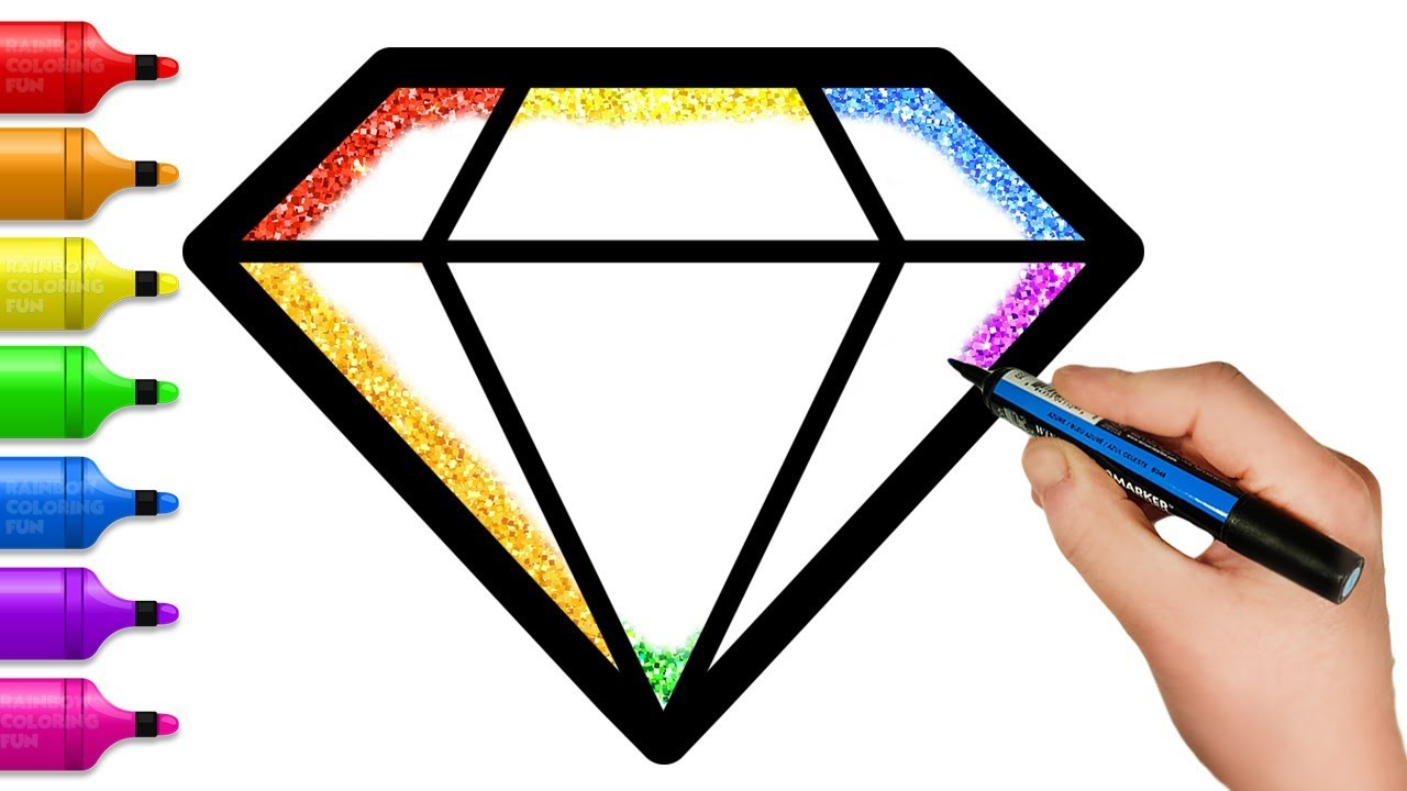 Glitter Toy Rainbow Diamond coloring and drawing for Kids, Toddlers | Fun  Coloring Pages