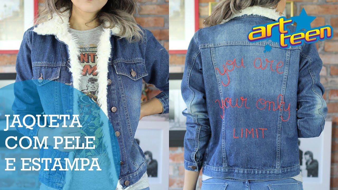 93b25acea5 ArtTeen - Como customizar jaqueta jeans - YouTube