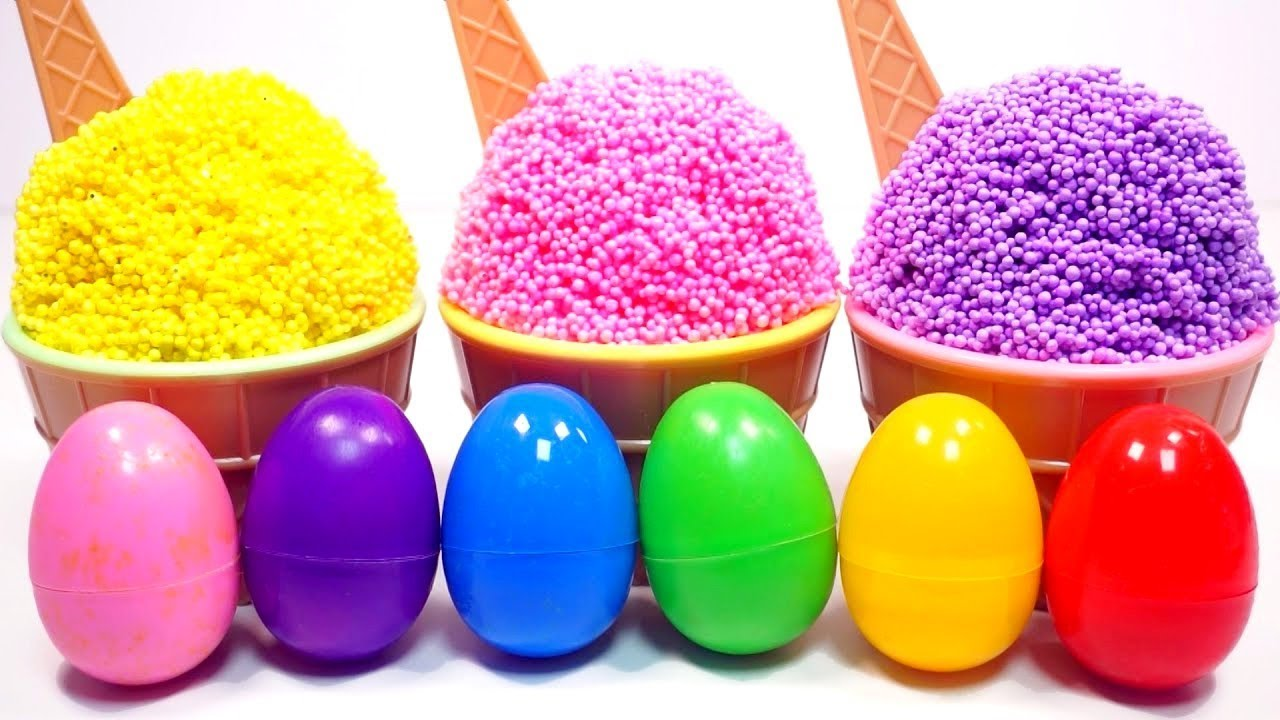 Download Apprendre les couleurs avec Foam Slime Pot Glaces avec Oeufs Surprises Colorés