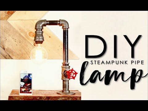 DIY pipe lamp with valve switch & phone charger!