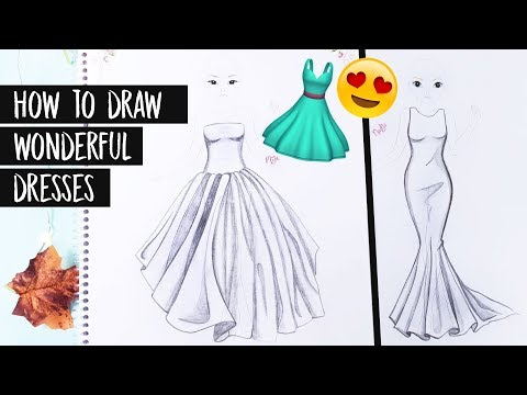 How To Draw Wonderful Dresses Elegante Kleider Malen Foxy Draws Tutorial Youtube