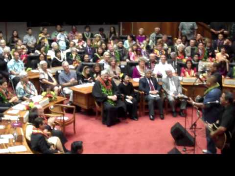 Sean Naauao Sings at 2011 Hawaii Senate Opening