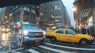 Midtown Manhattan, NYC Rain Walk | Port Authority Area to Grand Central Area (Cyberpunk Vibes)