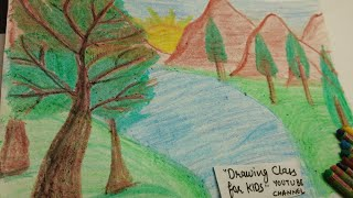 Nature drawing and coloring for kids easy / scenery drawing for kids