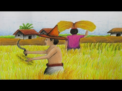 How to Draw a Village Landscape where farmers harvesting paddy on fields | Episode- 12