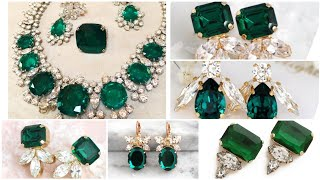 Stunning & gorgeous emerald  earrings designs with diamonds /green gemstone earrings by green stone