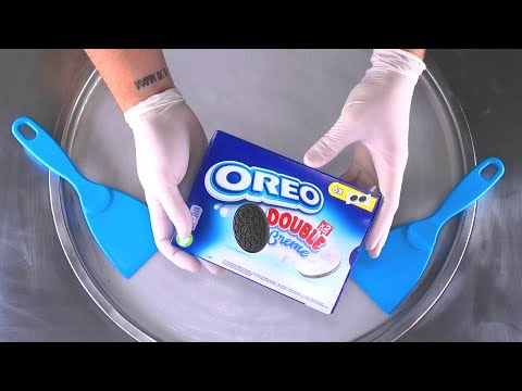 OREO Double Creme - Ice Cream Rolls | fried rolled Thai Ice Cream with Oreo Cookies and Cream | ASMR