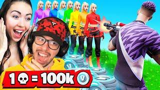 1 Elimination = 100,000 V-Bucks With My Girlfriend! (Fortnite)