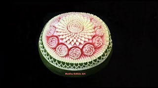 Making Border On Watermelon | Heart Shapes | intermediate 71 | Mutita Art Of Fruit & Vegetable Carvi