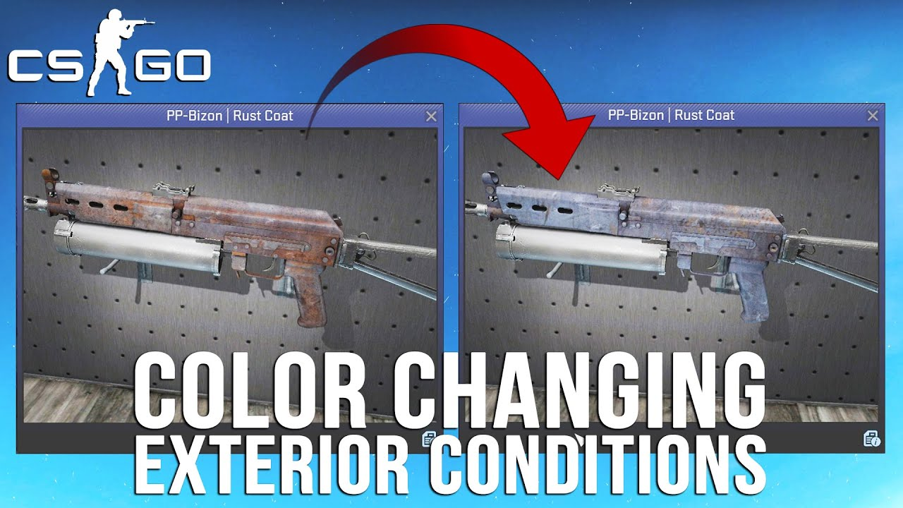 cs go 10 skins with color changing exterior conditions youtube On cs go exterior