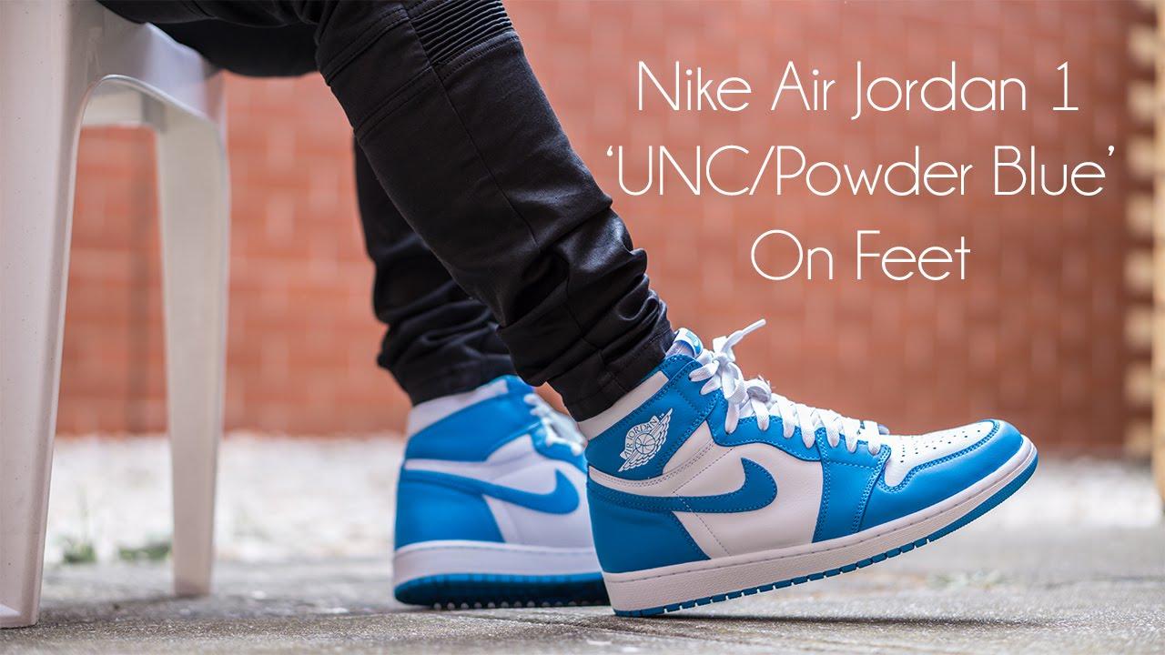 Presuntuoso attrezzo successore  Nike Air Jordan 1 'UNC/Powder Blue' 2015 On Feet! - YouTube