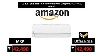 LG 1.5 Ton 3 Star Split Air Conditioner (copper KS-Q18SNXD White)