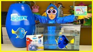 Big Finding Dory Surprise Egg Toys Aquarium & Princess Ariel! Disney Toys